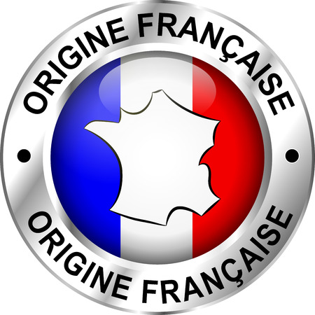 French translation of french origin round design icon Vector