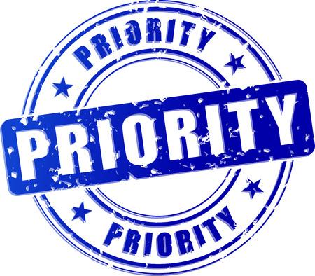 prioridades: ilustraci�n de prioridad azul sello icono concepto Vectores