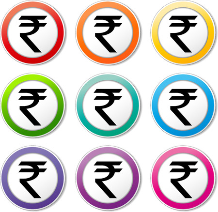 rupees: Illustration of rupee icons various colors set