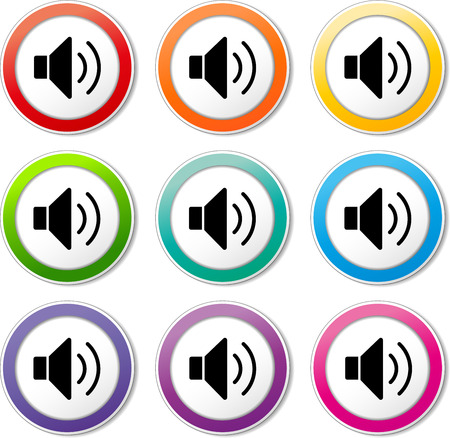 Illustration of speaker icons various colors set Vector
