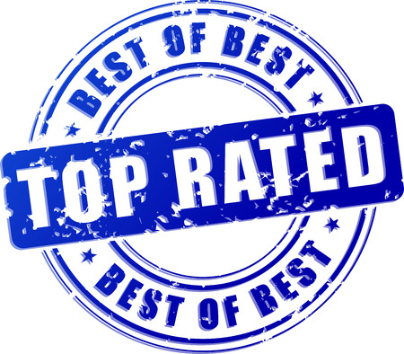 rated: Illustration of top rated blue stamp on white background