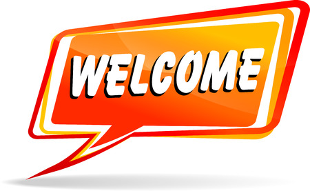 welcome sign: Illustration of welcome orange speech on white background