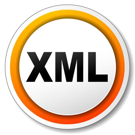 xml: illustration of xml orange icon on white background Illustration