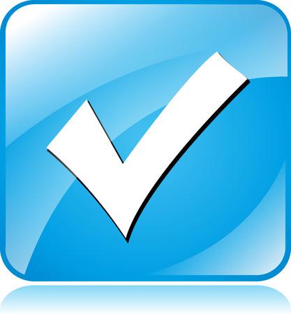 Illustration of blue square design icon for check mark Vector