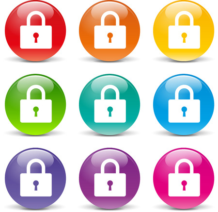 Illustration of padlock icons various colors set Vector