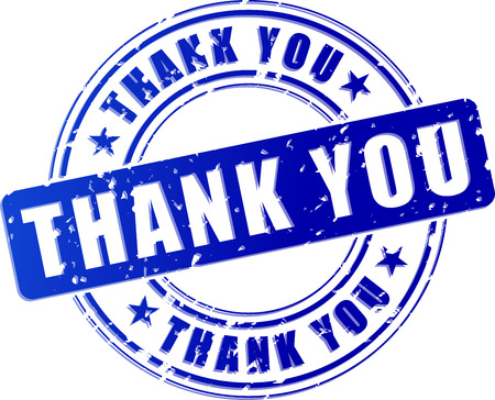 inkpad: illustration of blue thank you stamp on white background