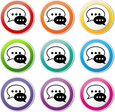 Illustration of chat speech icons various colors set Vector