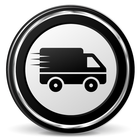 Illustration of metal round icon for delivery Vector