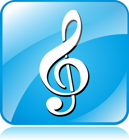 sol: Illustration of blue square design icon for music Illustration
