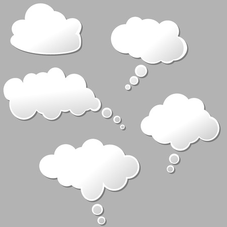 thinking: illustration of set of white design clouds