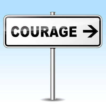 Illustration of courage sign on sky background