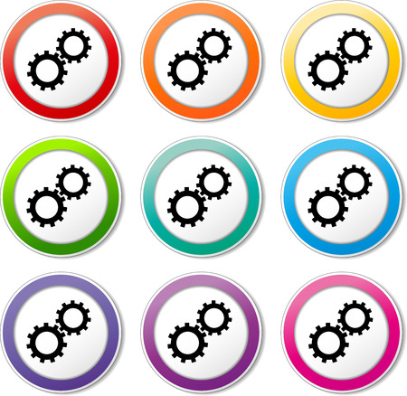 Illustration of gears icons various colors set Vector