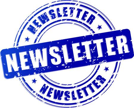 illustration of blue newsletter stamp on white background