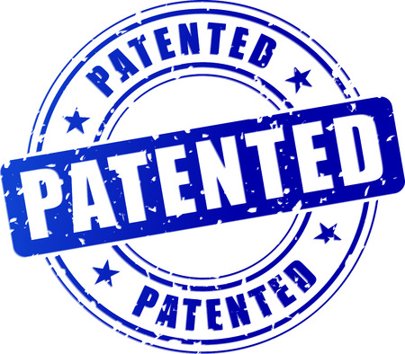 illustration of blue patented stamp on white background