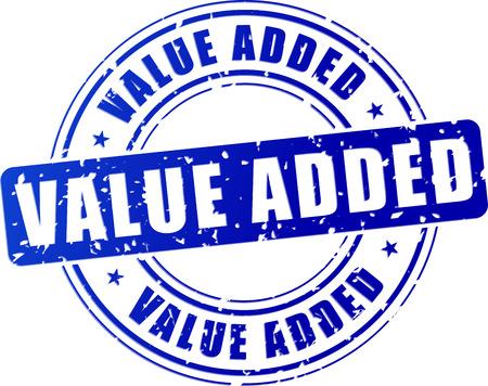 illustration of blue value added stamp on white background