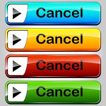 illustration of colorful web buttons for cancel Vector
