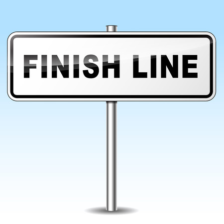 conclude: Illustration of finish line sign on sky background
