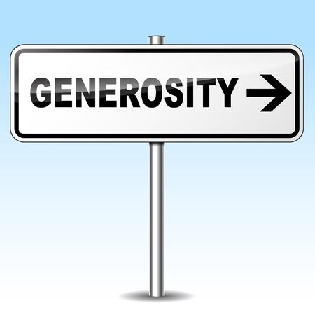 generosity: Illustration of generosity sign on sky background