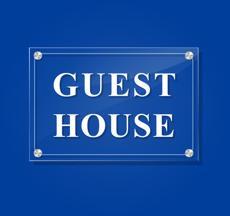 illustration of guest house transparent sign on blue background Vector