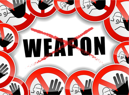 illustration of no weapon abstract concept symbol Vector