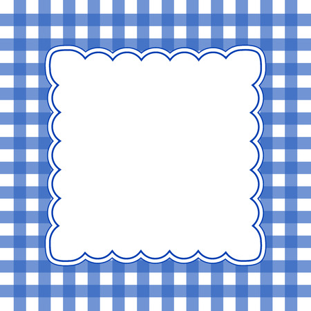 illustration of white and blue gingham background