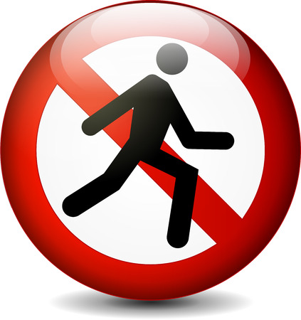 illustration of no run round sign on white background