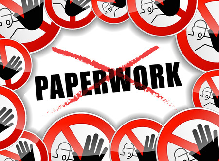 not working: illustration of no paperwork abstract concept background