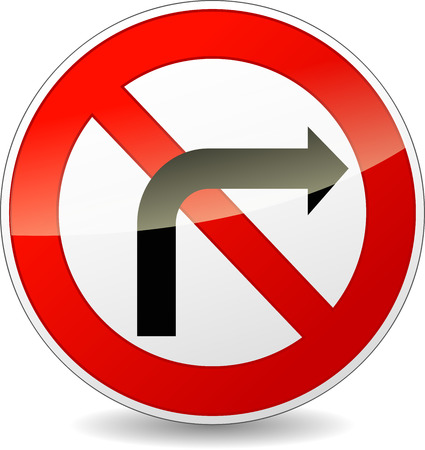 obey: illustration of no right turn round sign on white background
