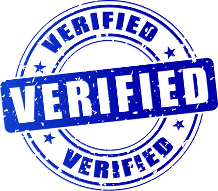 verified stamp: illustration of blue stamp icon for verified