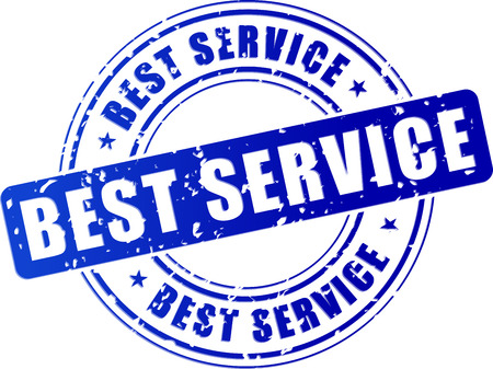 inkpad: illustration of blue stamp icon for best service