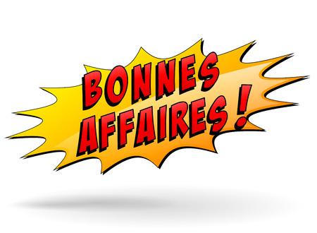 bargains: french translation of bargains yellow star icon Illustration