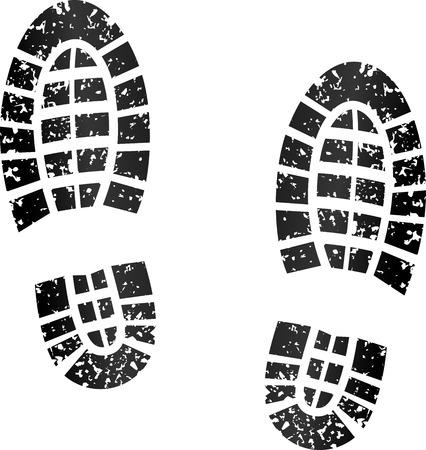 huella pie: ilustración de huellas negras sobre fondo blanco Vectores