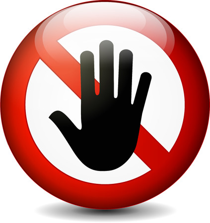 no trespassing: illustration of stop with hand round sign on white background Illustration