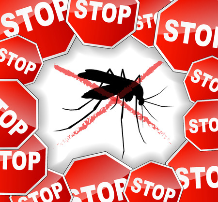 illustration of stop mosquitoes abstract concept background Ilustração
