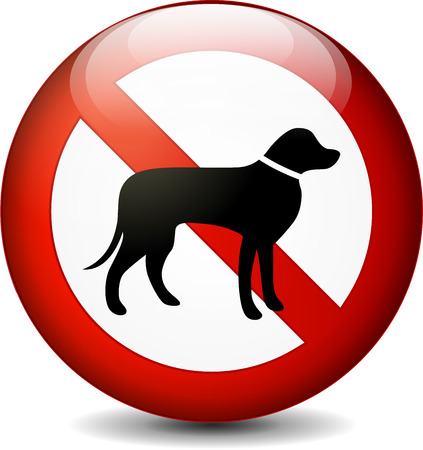 dog allowed: illustration of no dogs round sign on white background Illustration