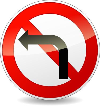 obey: ilustración de ninguna izquierda gire signo redonda sobre fondo blanco Vectores