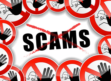 illustration of no scams abstract concept background Vettoriali