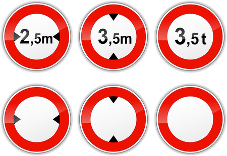 width: illustration of set signs for weight, height and width limit