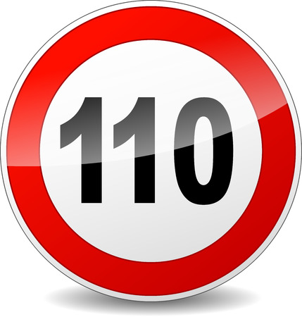 one hundred and ten: illustration of red and black speed limit sign