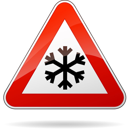 illustration of triangle road sign for cold