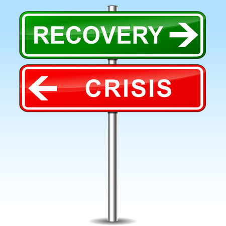 two roads: illustration of recovery and crisis directional sign