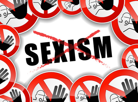 inequality: illustration of abstract design concept for no sexism