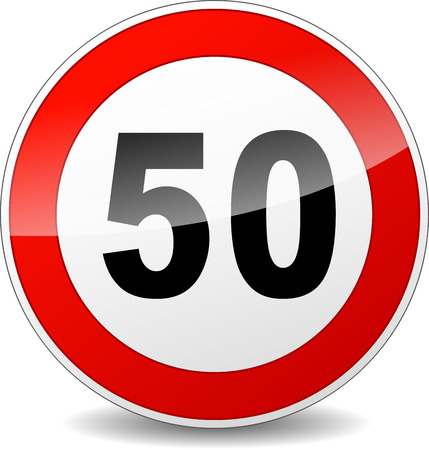 illustration of red and black speed limit sign Vector