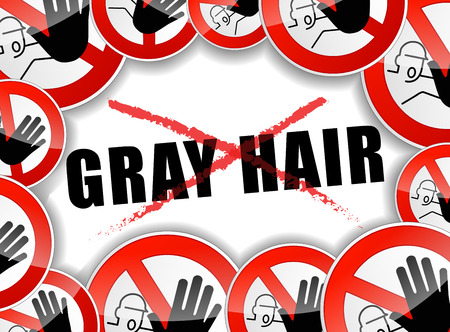 gray hair: illustration of abstract design concept for no gray hair