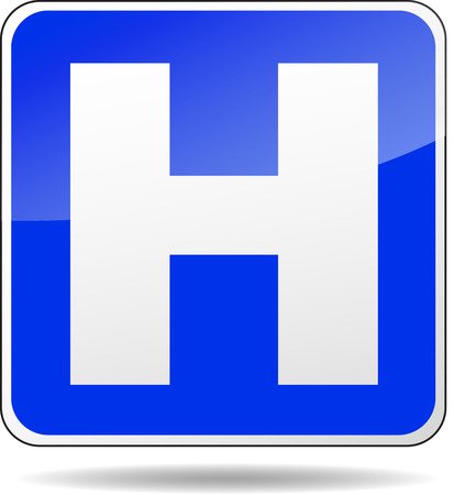 illustration of square design blue hospital sign Vector