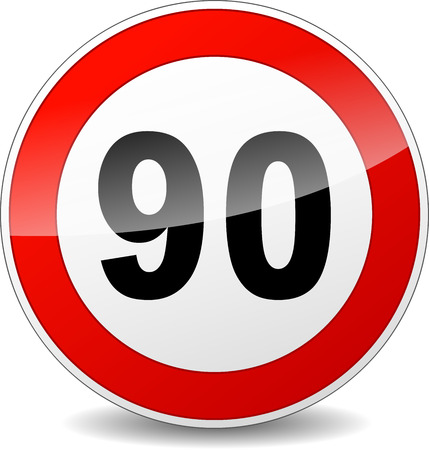 limitation: illustration of red and black speed limit sign