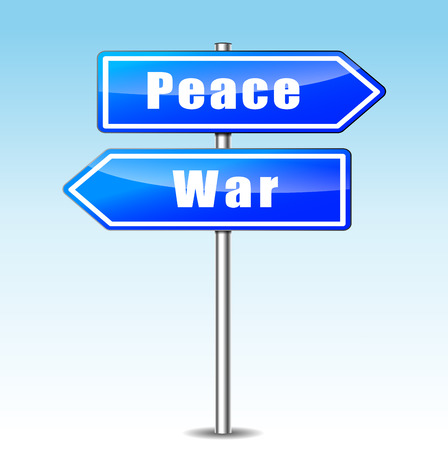 pacifism: illustration of choice between war and peace concept