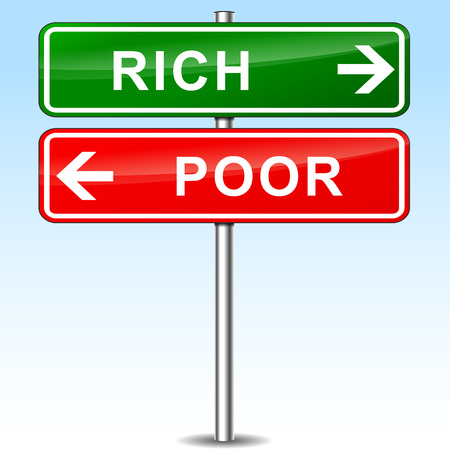 illustration of rich and poor directional sign