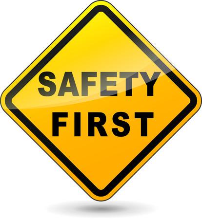 warnem      ¼nde: Abbildung der gelben Design Zeichen für Sicherheit an erster Stelle Illustration