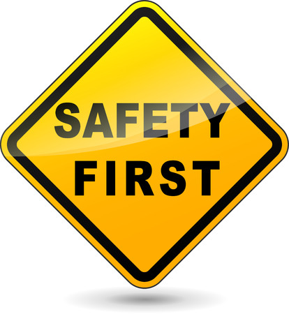 at first: illustration of yellow design sign for safety first